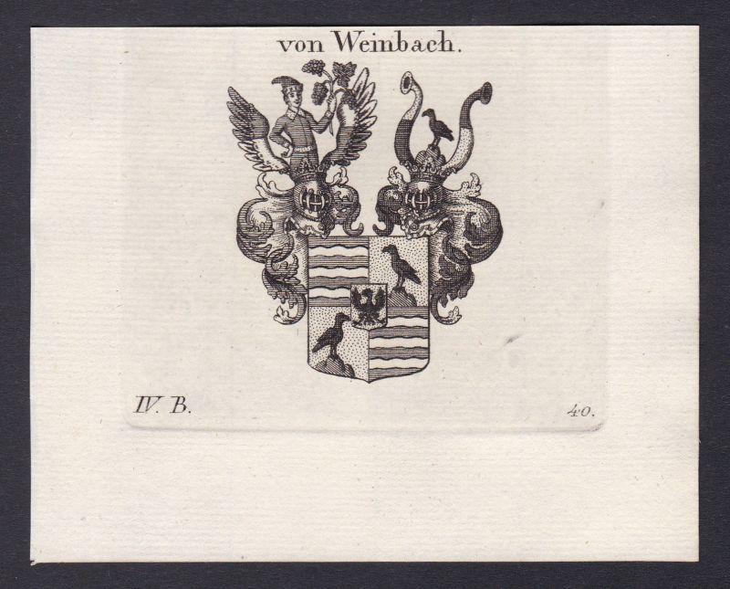 1820 Weinbach Wappen Adel coat of arms Heraldik Kupferstich antique print