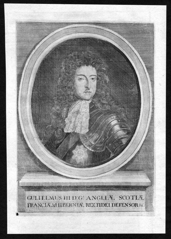 17. Jh. William III of England Willem Portrait Kupferstich antique print Ireland