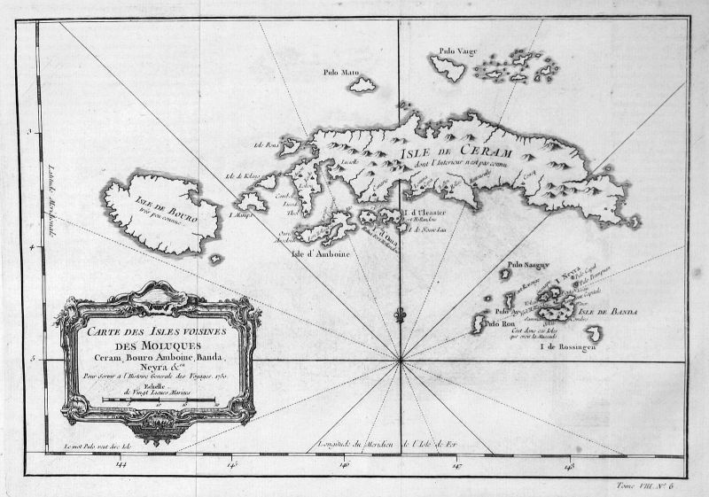 1750 Molukken Maluku Banda Buru Ambon Seram map Kupferstich antique print Bellin