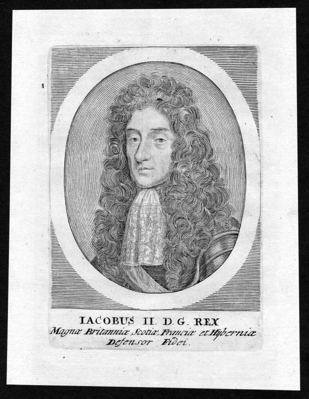 17. Jh. James II of England Scotland Great Britain Portrait Kupferstich antique