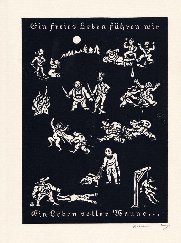 1976 Alfred Zacharias Holzschnitt zum Lied der Räuberbande