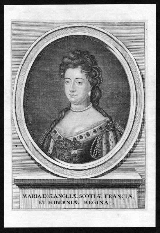 17. Jh. Mary II of England Ireland Scotland Portrait Kupferstich antique print