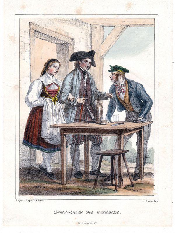 1840 Zurich Zürich Schweiz Suisse Kostüme costums Tracht Lithographie