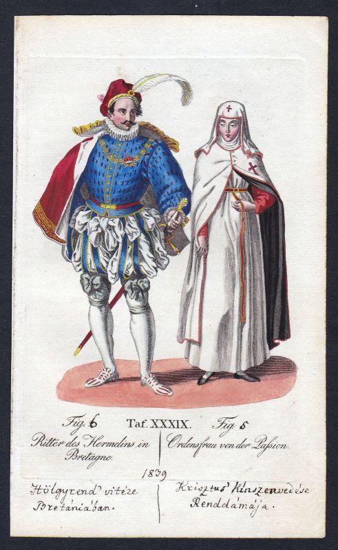 Hermelinorden Ritterorden vom Leiden Christi Orden Kupferstich antique print