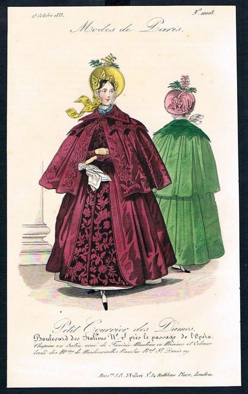 1833  Biedermeier Mode Kupferstich victorian fashion antique print Paris e 89253