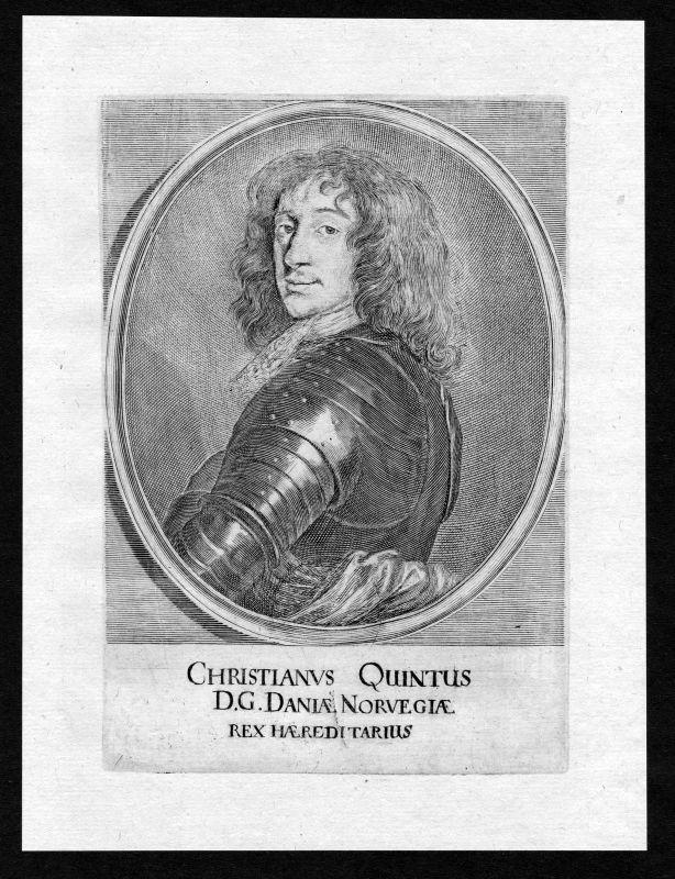 17. Jh. Christian 5 V Danmark Norge Norway Portrait Kupferstich antique print