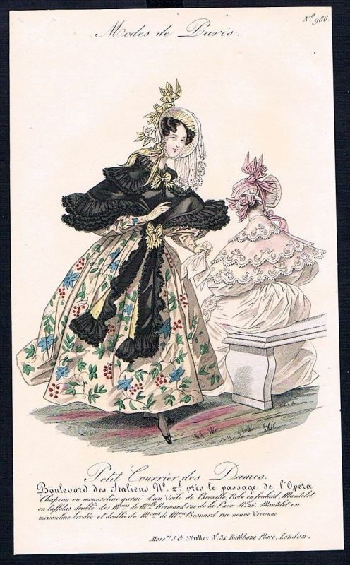 1833  Biedermeier Mode Kupferstich victorian fashion antique print Paris e 61711