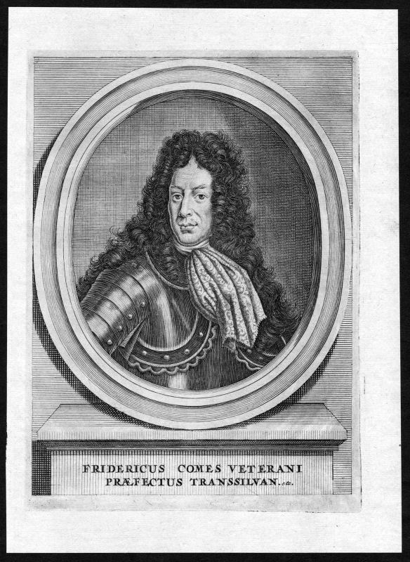 17. Jh. Friedrich von Veterani Portrait Kupferstich antique print Siebenbürgen