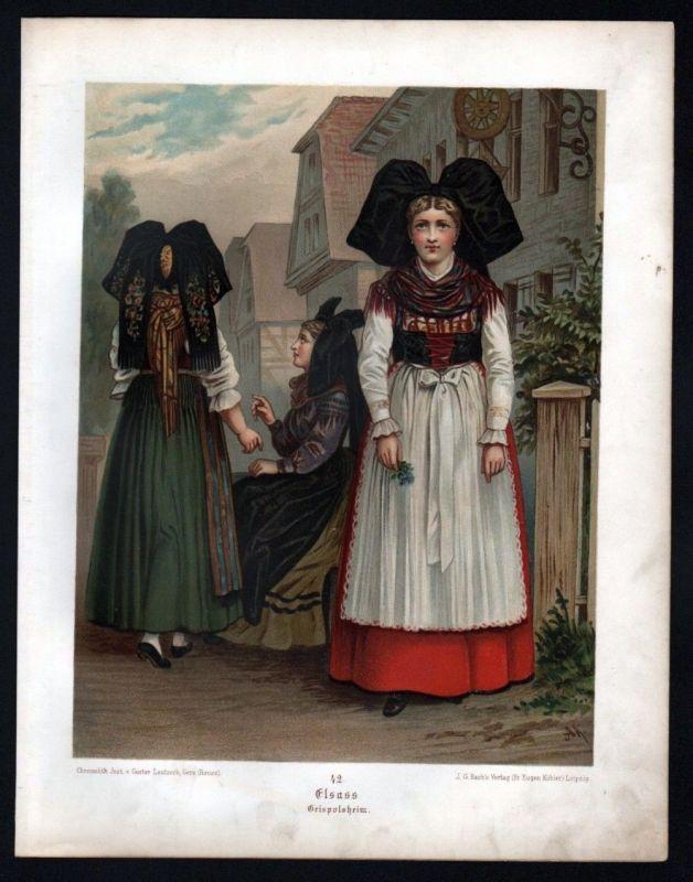 1890 Elsass Geispolsheim - Tracht Trachten Lithographie Kretschmer Albert