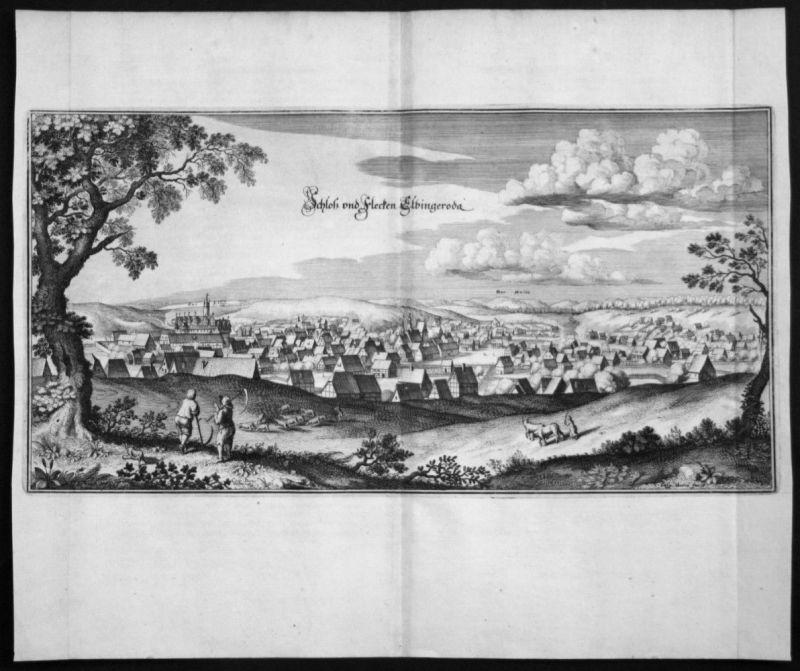 Elbingerode - Gesamtansicht Harz - Kupferstich Merian Merian: