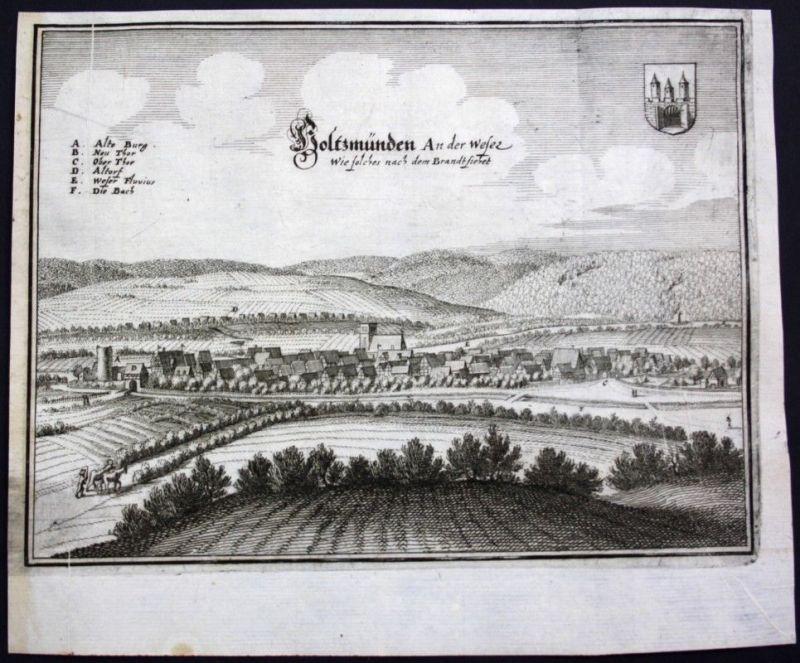Holzminden an der Weser - Gesamtansicht - Kupferstich Merian Merian: