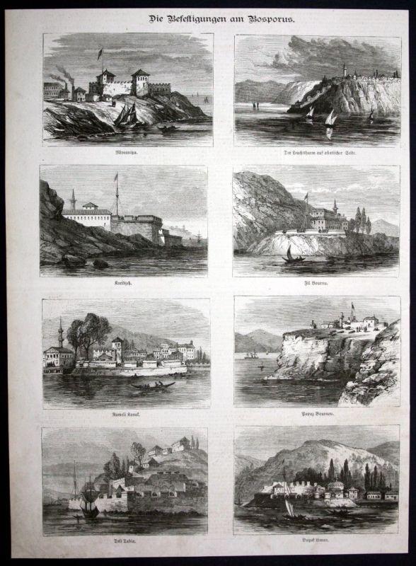 1877 Bosporus Bosphorus Festung fortress Holzstich antique print