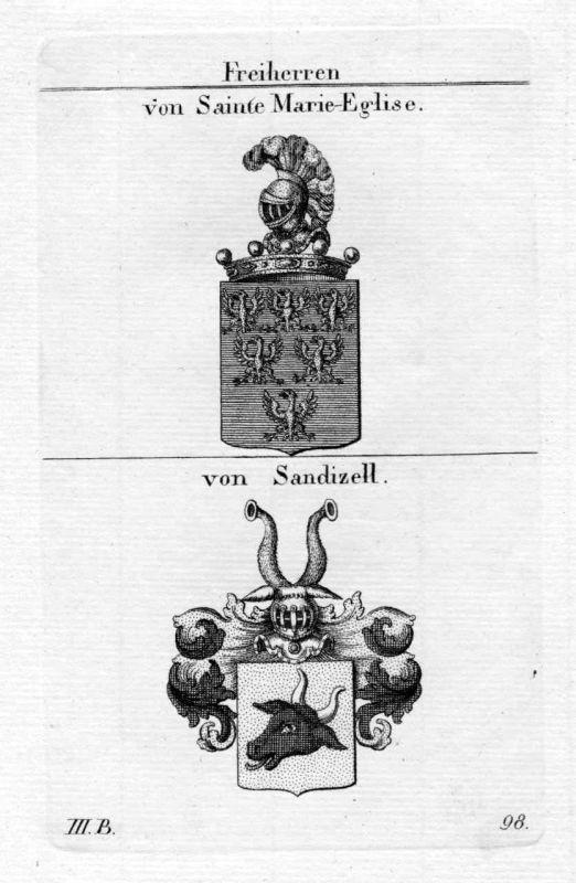 Sainte Marie Eglise Sandizell - Wappen Adel coat of arms heraldry Heraldik Kupfe
