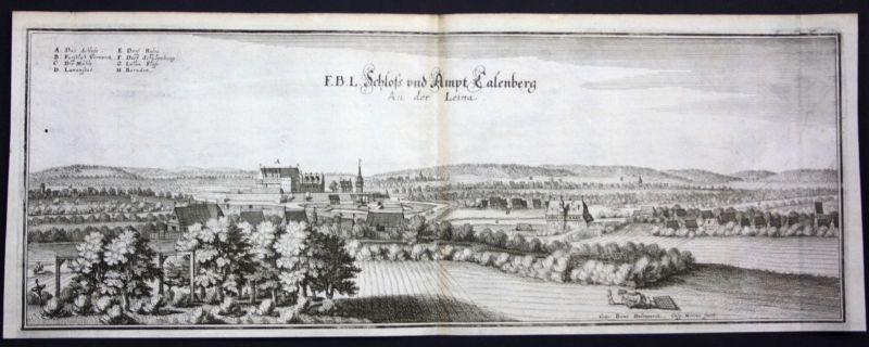 Burg Calenberg / Pattensen bei Hildesheim - Kupferstich Merian Merian:
