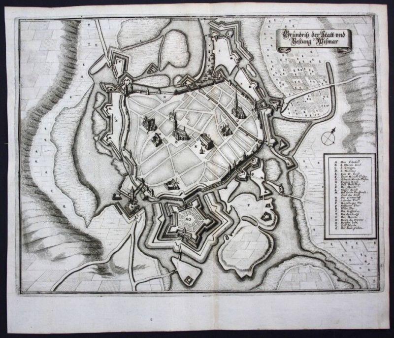 Wismar / Stadtplan - Gesamtansicht - Karte Kupferstich Merian Merian: