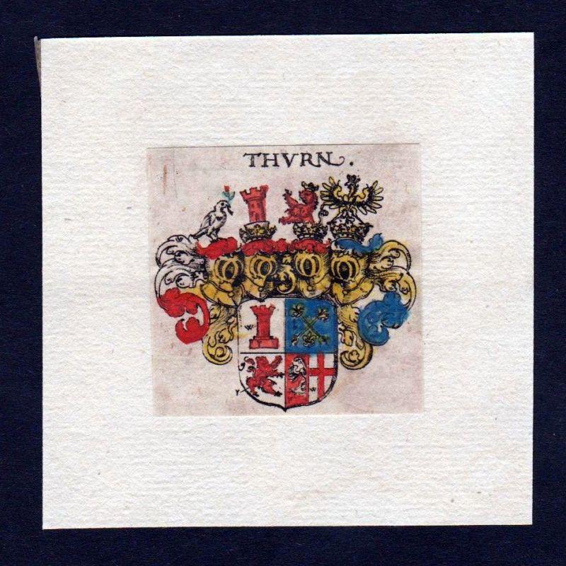 17. Jh von Thurn Wappen Adel coat of arms heraldry Heraldik Kupferstich