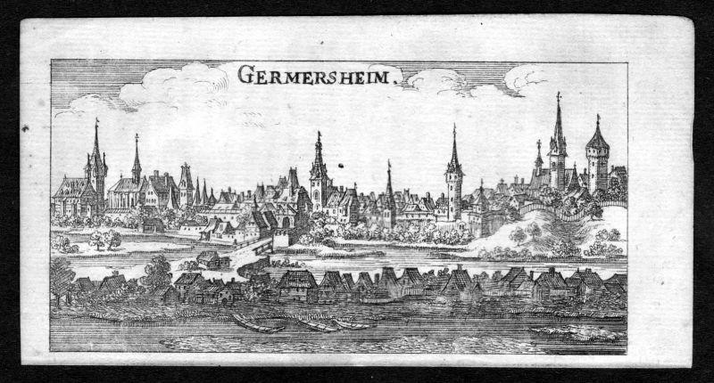 1685 Germersheim Gesamtansicht Kupferstich Riegel