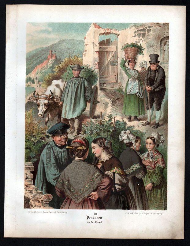 1890 Preussen Preußen an der Mosel Tracht Trachten Lithographie Kretschmer