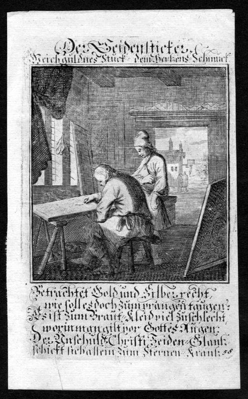1700 Seidensticker Seide silk Beruf profession Weigel Kupferstich antique print 0