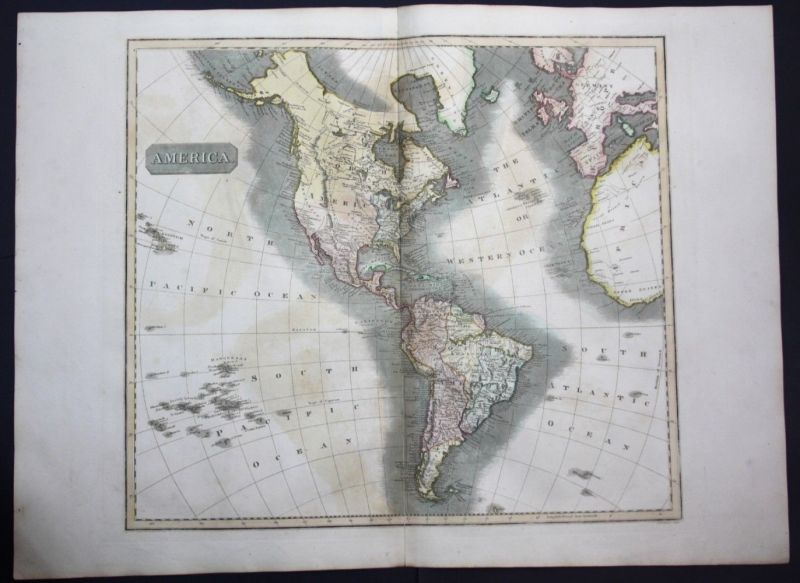 1817 America North South continent Amerika map Karte Thomson Kupferstich 0