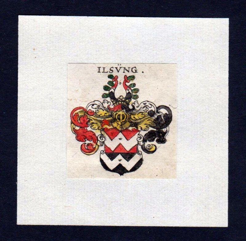 17. Jh Ilsing Wappen Adel coat of arms heraldry Heraldik Kupferstich 0
