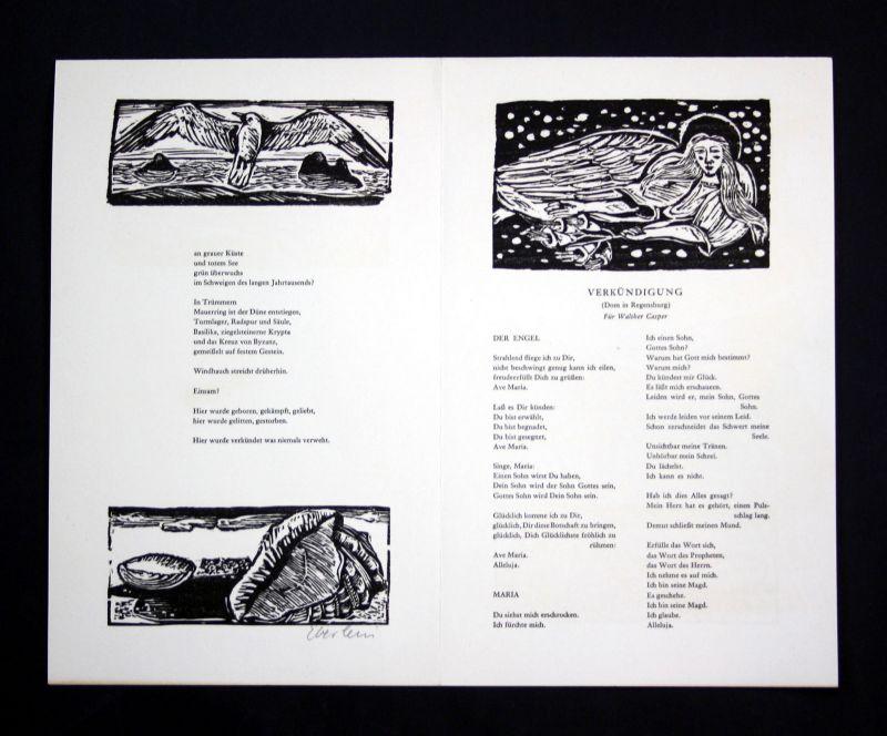 1990 Klaus Eberlein Herbert Günther Holzschnitte zu Gedichten signiert