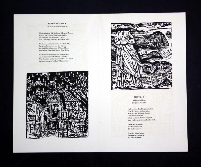 1990 Klaus Eberlein Herbert Günther Holzschnitte zu Gedichten signiert 1