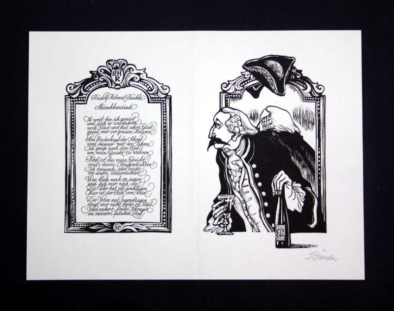 1981 Eduard Prüssen Rudolf Helmut Reschke Linolschnitt zu Gedicht signiert
