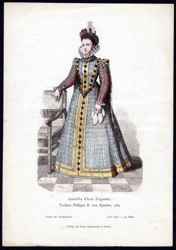 1880 - Isabella Clara Eugenia Prinzessin Spanien Spain Tracht Trachten costumes