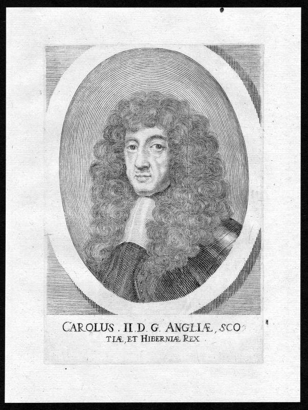 17. Jh Charles II of England Scotland Ireland Portrait Kupferstich antique print 0
