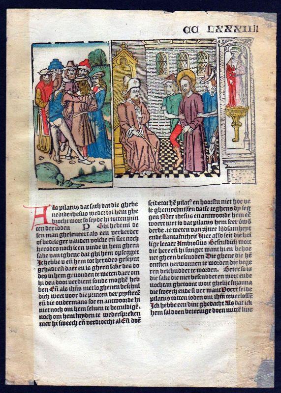 1499 Blatt CCLXXXII Inkunabel Vita Christi Zwolle Holzschnitt woodcut incunable 0