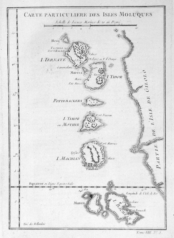 1750 Molukken Maluku Islands Asia Indonesia map Kupferstich engraving Bel 155749