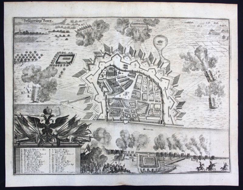 1698 Belagerung Bonn Plan Ansicht view Kupferstich antique print Merian