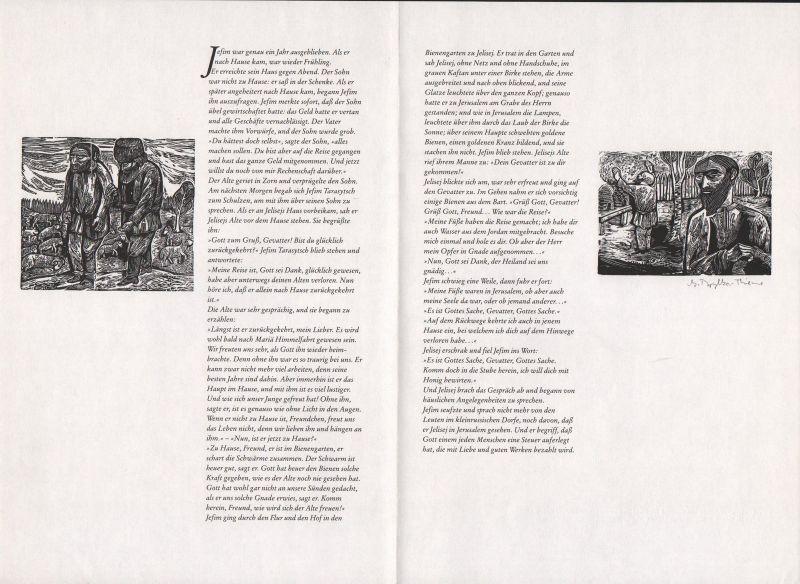 1993 Gertraud Brylka-Thieme Leo N. Tolstoi Holzstich Die beiden Alten signiert 0