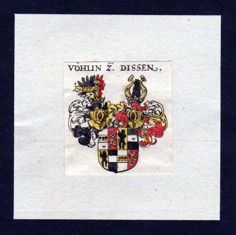17. Jh Vöhlin zu Dissen Wappen Adel coat of arms heraldry Heraldik Kupferstich 0