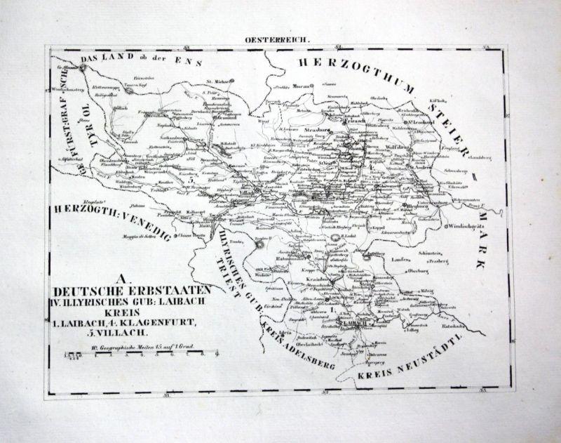 1825 - Klagenfurt Villach Friesach Laibach - Lithographie Karte map Schlieben,