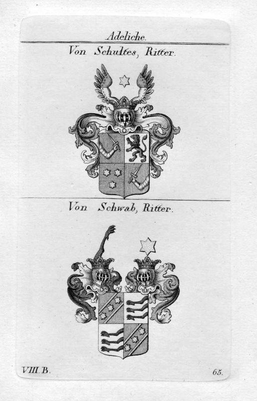 1820 Schultes / Schwab - Wappen Adel coat of arms heraldry Heraldik Kupferstich 0