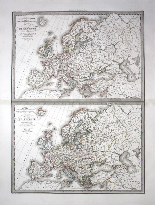 1831 - Europe Europa 800 1500continent Kontinent Karte map engraving Lapie 0