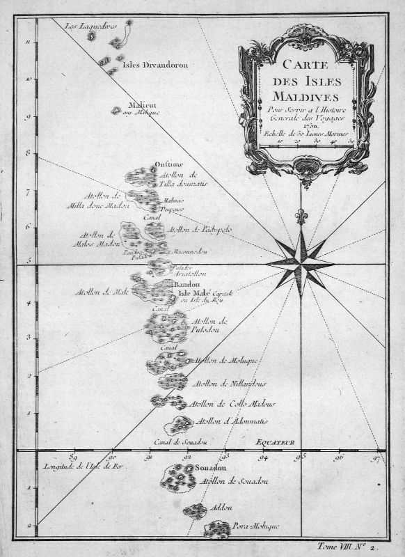 1750 Malediven Maldives Islands Insel map Karte Kupferstich engraving Bel 155782 0