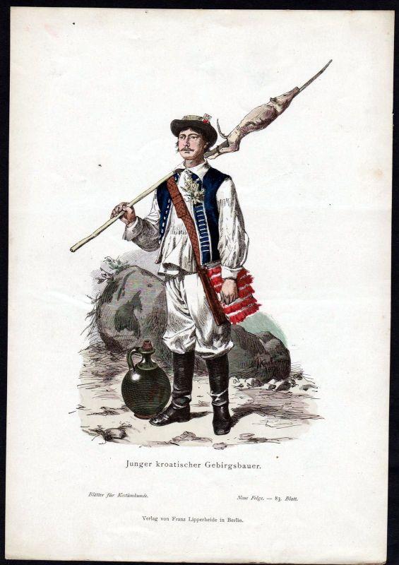 1880 - Gebirgsbauer Kroatien Croatia Tracht Trachten costumes Grafik graphic 0