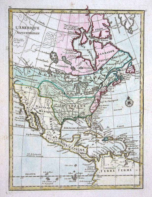 1767 America continent United States map Kupferstich antique print Le Rou 159528