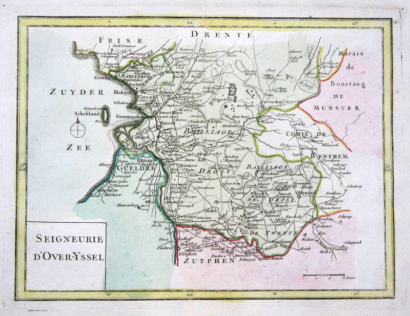 1767 Overijssel Nederland Zwolle map Karte Kupferstich antique print Le Rouge