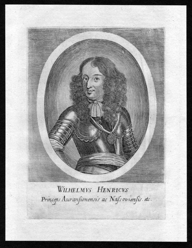 17. Jh. Wilhelm Oranien Willem Oranje Nassau Portrait Kupferstich antique print 0