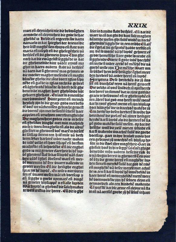 1499 Blatt XXIX Inkunabel Vita Christi Zwolle incunable Dutch Holland 0