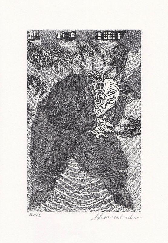 1976 Robert Schanzenbacher Nikolai Gogol Holzstich zu Der Mantel signiert 0