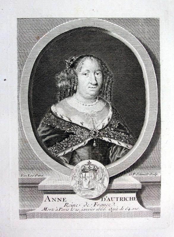 18. Jh. Anna Maria Mauricia Österreich reine Kupferstich Portrait engraving