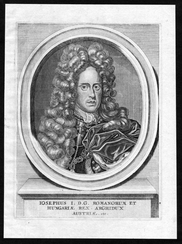 17. Jh. Joseph I. HRR Hungary Croatia Böhmen Portrait Kupferstich antique print 0