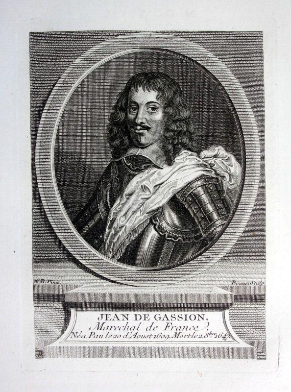 18. Jh Jean de Gassion Marechal de France Kupferstich Portrait gravure engraving