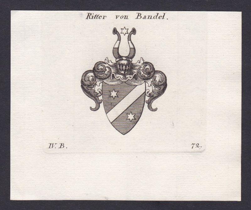 1820 Bandel Wappen Adel coat of arms heraldry Heraldik Kupferstich antique print 0