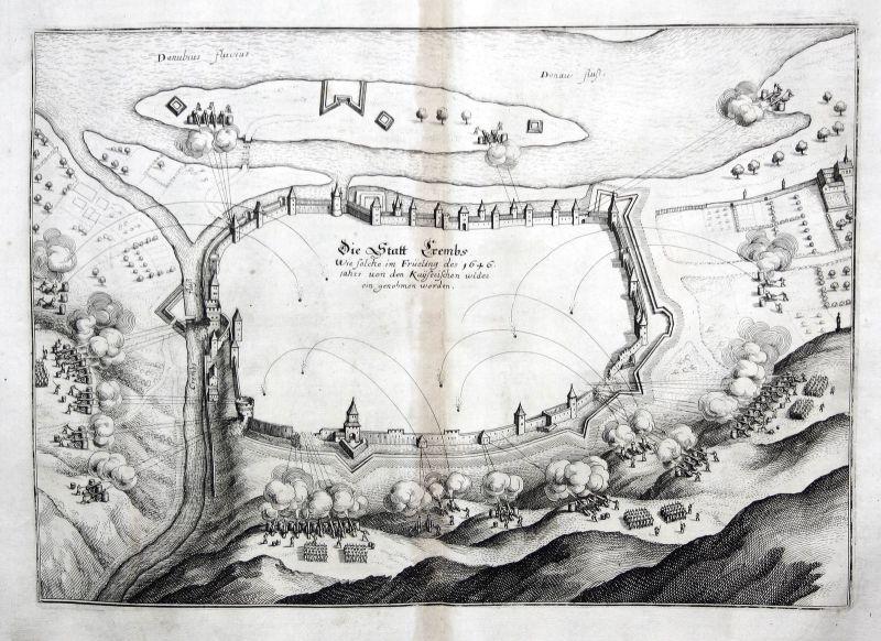 Krems an der Donau Schlacht Karte Plan Kupferstich antique print Merian 1650 0